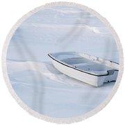 The White Fishing Boat Round Beach Towel