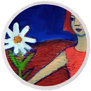 The White Flower Round Beach Towel