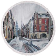The White Grand Canal Street Maastricht Round Beach Towel by Nop Briex