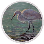 The White Heron Round Beach Towel