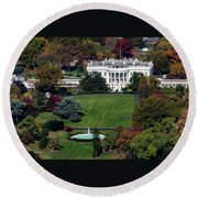 The White House Round Beach Towel by Ed Clark