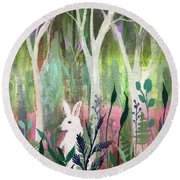 Round Beach Towel featuring the painting The White Rabbit by Robin Maria Pedrero