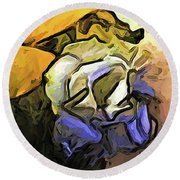 The White Rose And The Yellow Petals Round Beach Towel