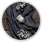 Round Beach Towel featuring the photograph The White Rose by Kim Hojnacki