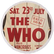 The Who 1966 Tour Poster Round Beach Towel