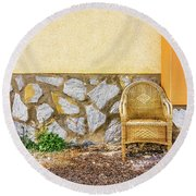 Round Beach Towel featuring the photograph The Wicker Chair. by Gary Gillette
