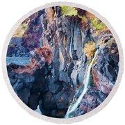 The Wild Atlantic Cliffs Of Camara De Lobos On The Islandof Madeira Round Beach Towel