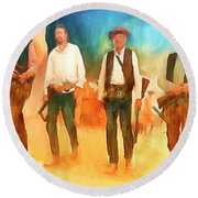 The Wild Bunch Round Beach Towel by Michael Cleere