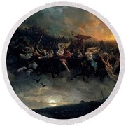 Round Beach Towel featuring the painting The Wild Hunt Of Odin by Peter Nicolai Arbo