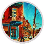 Round Beach Towel featuring the painting The Wilensky Doorway by Carole Spandau