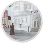 The Willis Museum Basingstoke With Jane Austen Statue Round Beach Towel