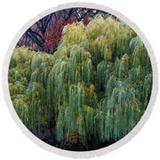 The Willows Of Central Park Round Beach Towel