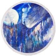 The Wind Blows A Kiss To The Moon Round Beach Towel by Seth Weaver