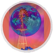 The Windmill And Moon In A Sherbet Sky Round Beach Towel