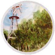 The Windmill  Round Beach Towel by Vicki  Housel