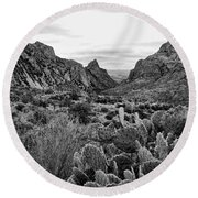 The Window 2 Black And White Round Beach Towel