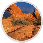 Round Beach Towel featuring the photograph The Window by Steve Stuller