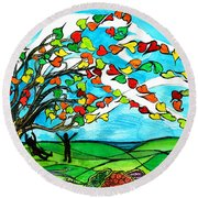 The Windy Tree Round Beach Towel