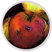 The Wine Apple With The Gold Apples Round Beach Towel