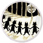 The Wink Six Black Pussy Cats Round Beach Towel