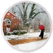 The Winter Cottage Round Beach Towel