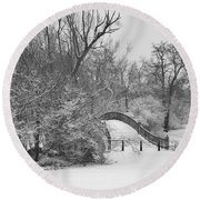 The Winter White Wedding Bridge Round Beach Towel by Daniel Thompson