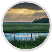 The Wire Fence -  Seabrook Island, Sc Round Beach Towel
