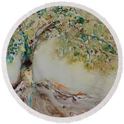 Round Beach Towel featuring the painting The Wisdom Tree by Joanne Smoley