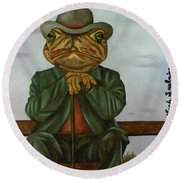 The Wise Toad Round Beach Towel