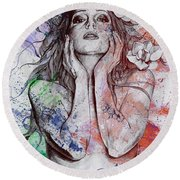 The Withering Spring - Wine Round Beach Towel