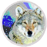 Round Beach Towel featuring the mixed media The Wolf by Charles Shoup