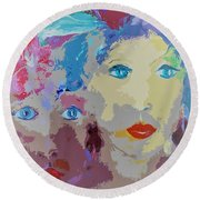 The Women In Feathers And Flowers Painting Round Beach Towel by Lisa Kaiser