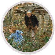 Round Beach Towel featuring the painting The Wood Gatherer by Jules Bastien-Lepage
