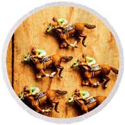 The Wooden Horse Race Round Beach Towel