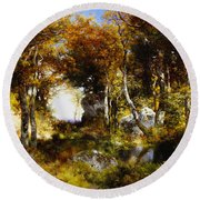 The Woodland Pool Round Beach Towel