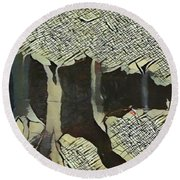 The Woods Are Lovely Round Beach Towel