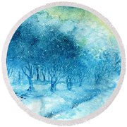 The Woods Are Lovely Dark And Deep Round Beach Towel