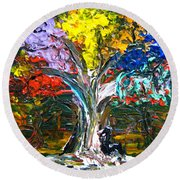 The World Moves For Love By Colleen Ranney Round Beach Towel