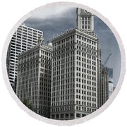 Round Beach Towel featuring the photograph The Wrigley Building by Alan Toepfer