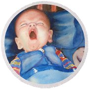 The Yawn Round Beach Towel by Marilyn Jacobson
