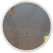 Round Beach Towel featuring the photograph The Yellow Bucket by Ana Mireles