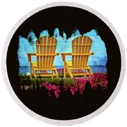 The Yellow Chairs By The Sea Round Beach Towel