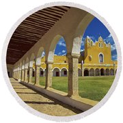 The Yellow City Of Izamal, Mexico Round Beach Towel by Sam Antonio Photography