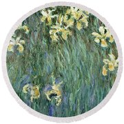 The Yellow Irises Round Beach Towel by Claude Monet