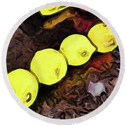 The Yellow Lemons In A Row And The Pink Apple Round Beach Towel