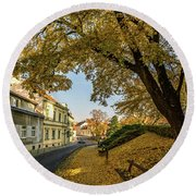 The Yellow Tree Round Beach Towel