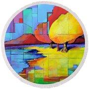 The Yellow Tree Round Beach Towel by Jodie Marie Anne Richardson Traugott          aka jm-ART