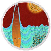 The Young Man And The Sea Round Beach Towel