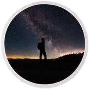 The Young Wanderer By Adam Asar Round Beach Towel