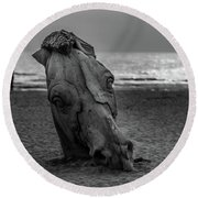 The Youth And The Horsehead Round Beach Towel